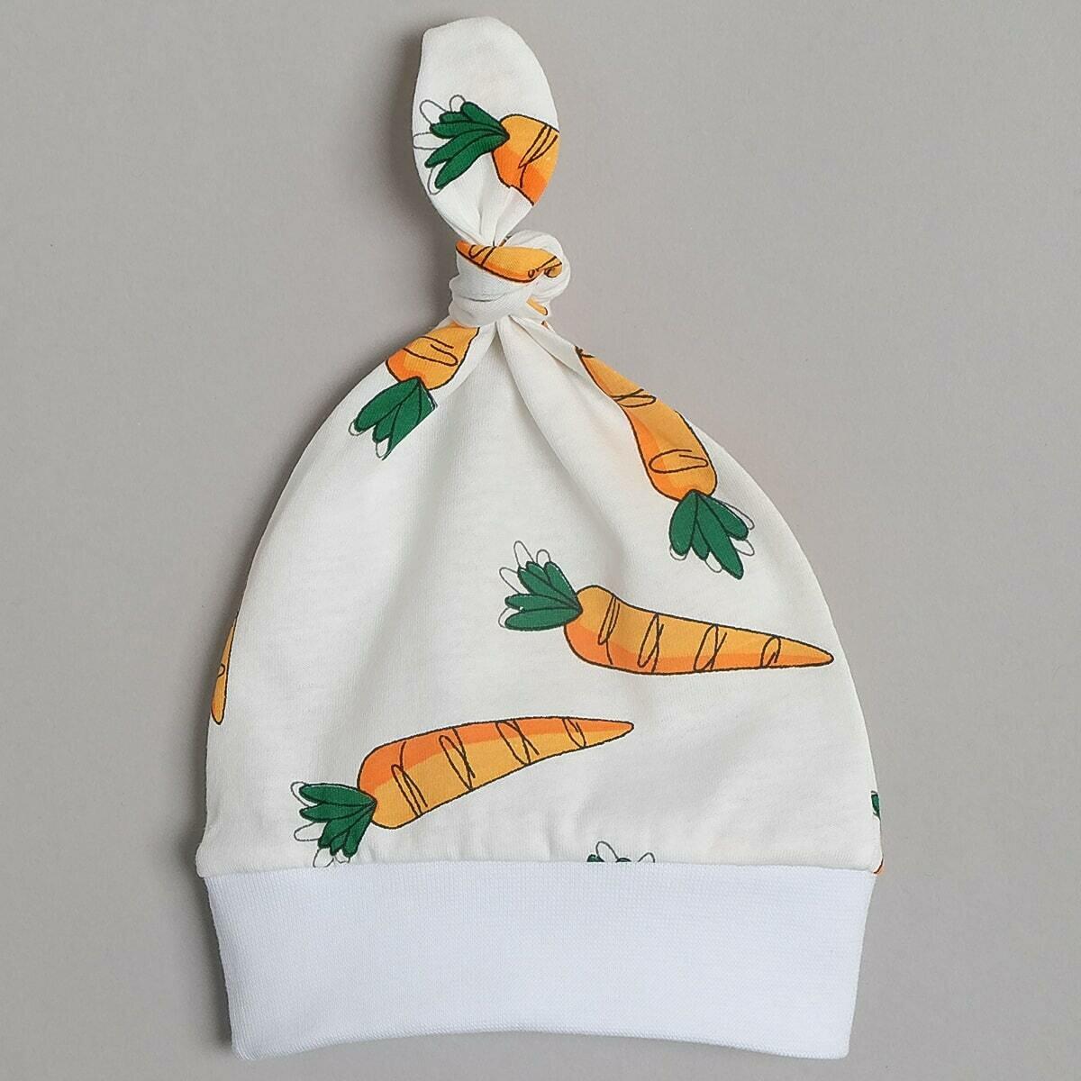 Шапочка с узелком, тонкий трикотаж, морковка