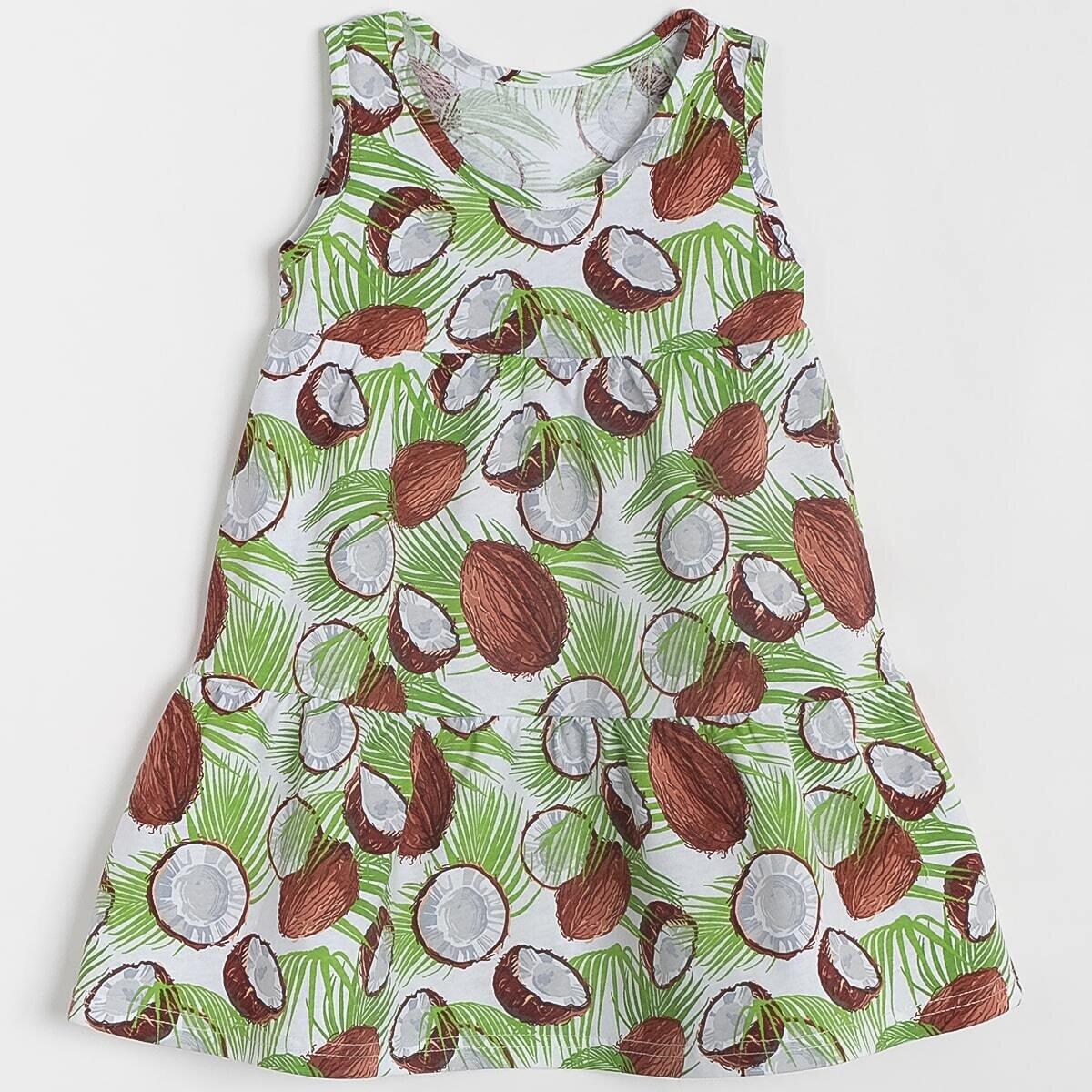 Платье, кулирка, кокосы