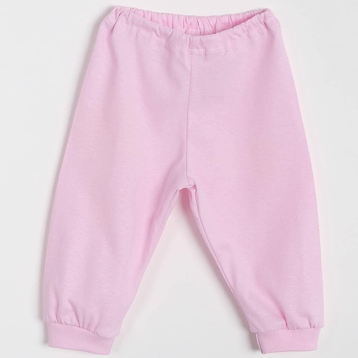 Штанишки на манжетах, тонкий трикотаж, розовый