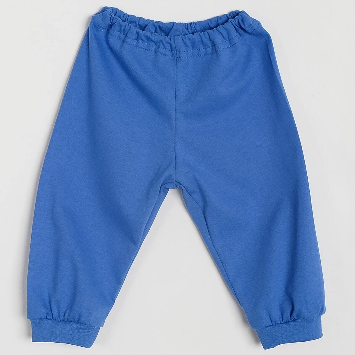 Штанишки на манжетах, тонкий трикотаж, синий