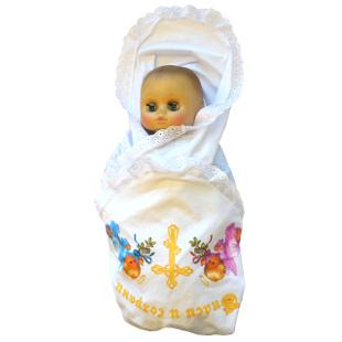 Пеленка крестильная с кружевом и принтом, тонкий трикотаж