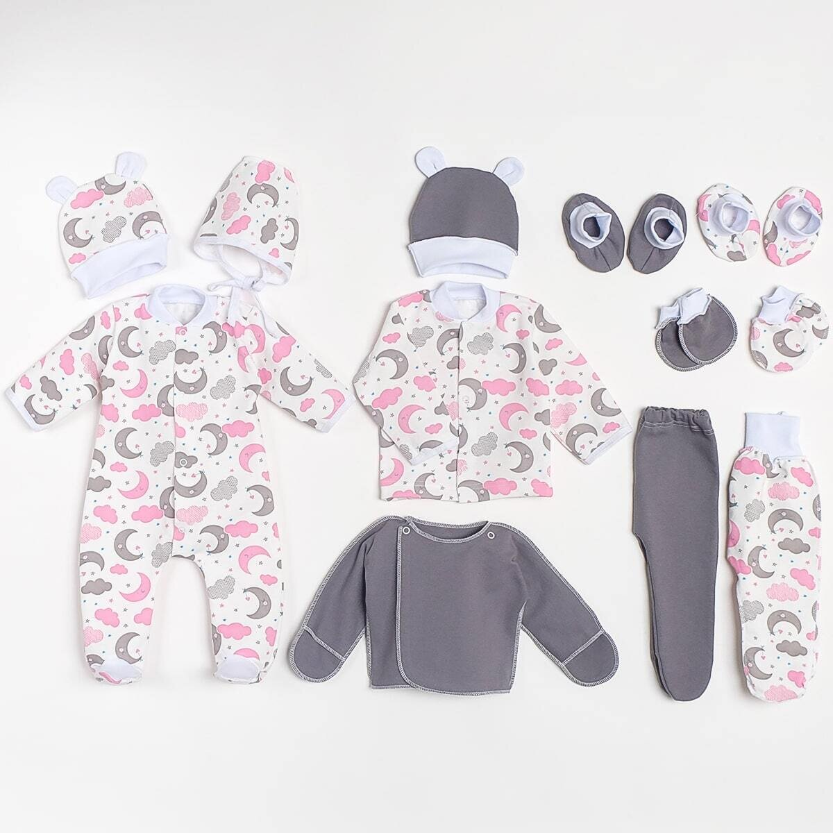 Комплект для малышей, трикотаж с начесом, луна, розовый