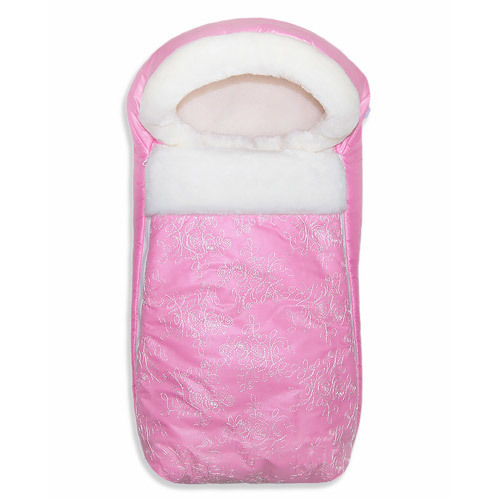 Конверт прогулочный ЛЮКС, на меху, розовый