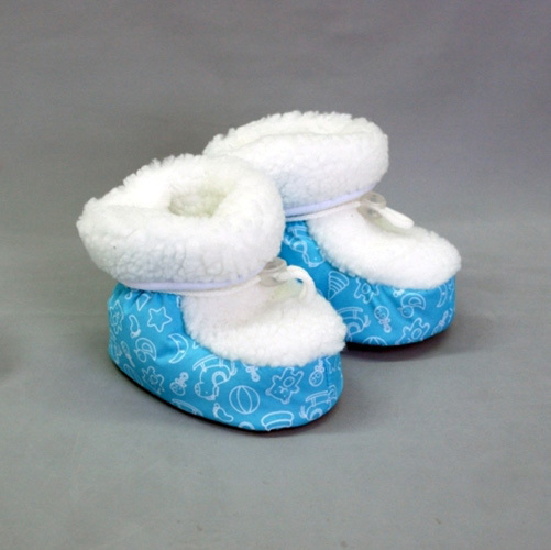 Башмачки с меховой отделкой, голубой
