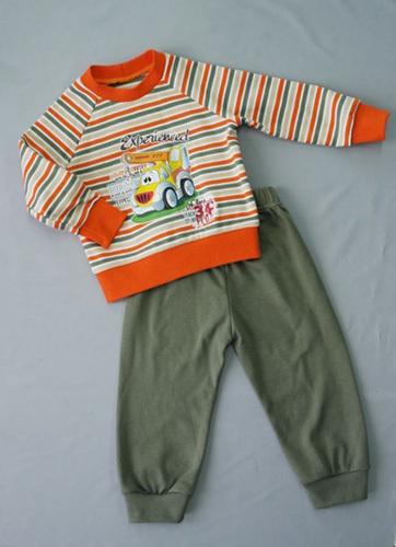 Костюм для мальчика, хаки/оранжевый