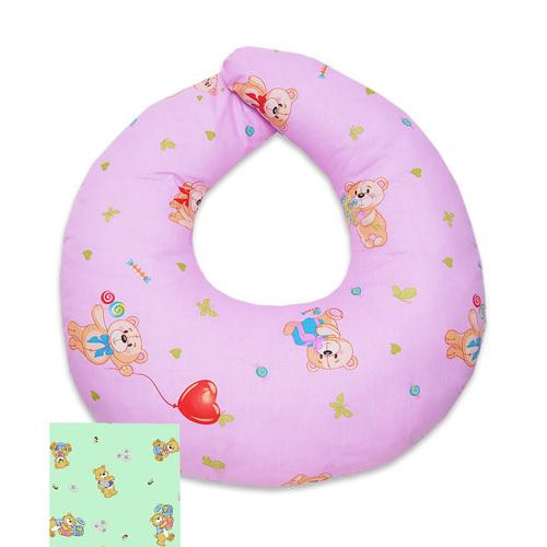 Подушка для кормления с двумя наволочками, розовый+салатовый
