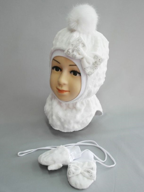 Комплект ФИФОЧКА, шапочка-шлем и рукавички, белый