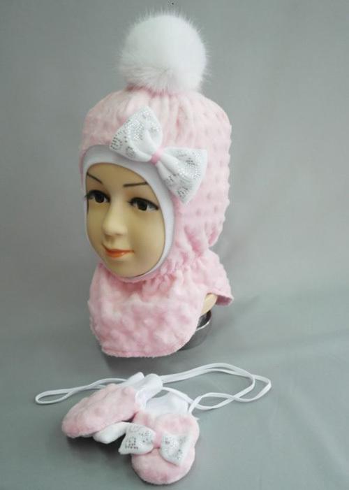 Комплект ФИФОЧКА, шапочка-шлем и рукавички, розовый
