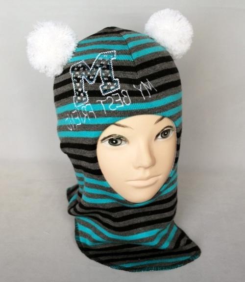 Шапочка-шлем для мальчика РОБЕРТ 2, бирюзовый-полоска