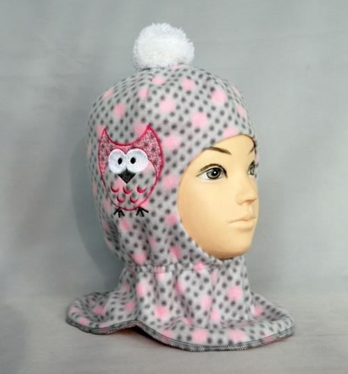 Шапка-шлем для девочки СОВУШКА, серый/розовый