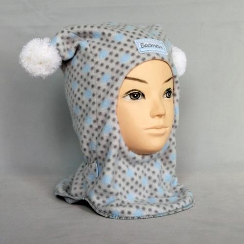 Шапка-шлем для мальчика ЖАКОНЯ М, серый/голубой