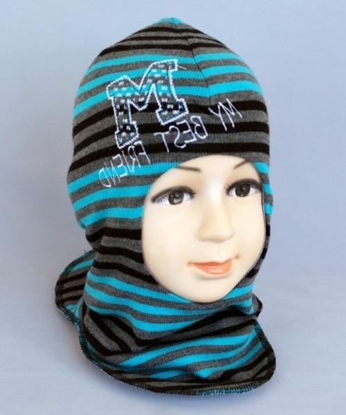 Шапочка-шлем для мальчика РОБЕРТ 4, бирюзовый-полоска