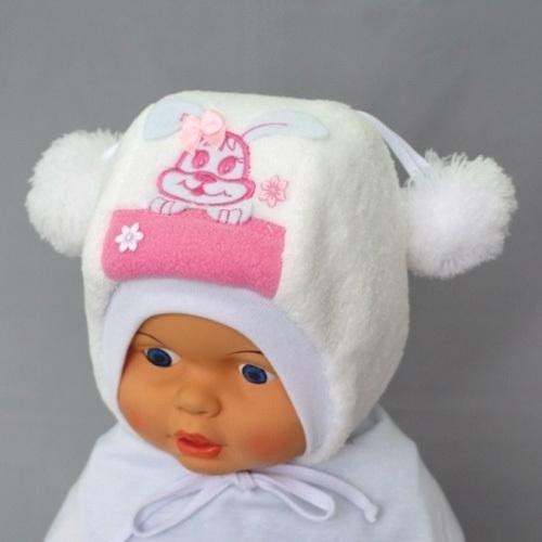Шапочка для девочки ХВАСТУНИШКА, белый-розовый
