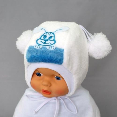 Шапочка для мальчика ХВАСТУНИШКА, белый-голубой