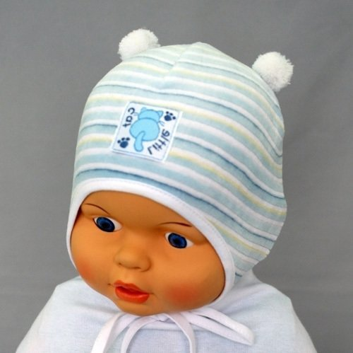 Шапочка для мальчика КОТЁНОК, голубой/полоска