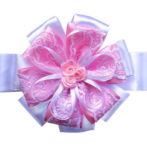 Бант нарядный на выписку (атлас) 15см, лента 2м, бело-розовый