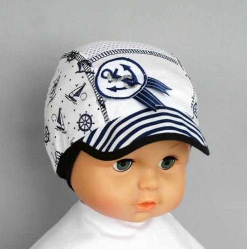 Кепочка для мальчика БОЦМАН, белый/синий