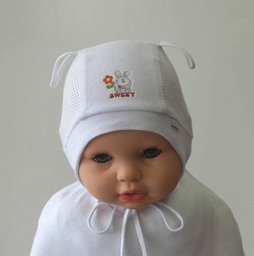 Летняя шапочка ЗАЙКА, белый
