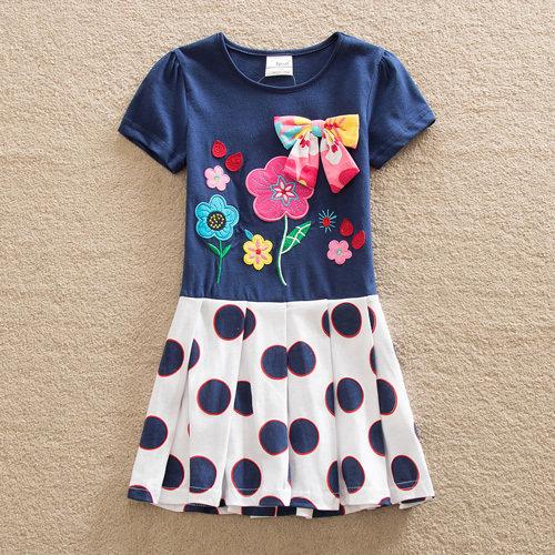 Платье для девочки МИЛАШКА, синий/горошек