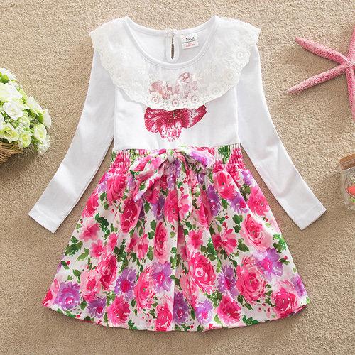 Платье для девочки ТАТЬЯНА, белый/розовый