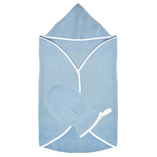 Махровый набор для купания: накидка с капюшоном и варежка.