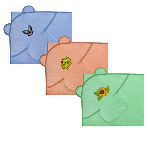 Махровый набор для купания: полотенце-уголок и варежка, в подарочной упаковке