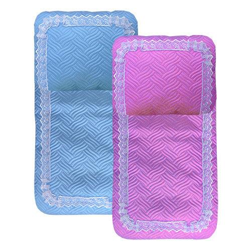Комплект в коляску:  матрасик и подушка, атлас ультрастеп, отделка кружевом