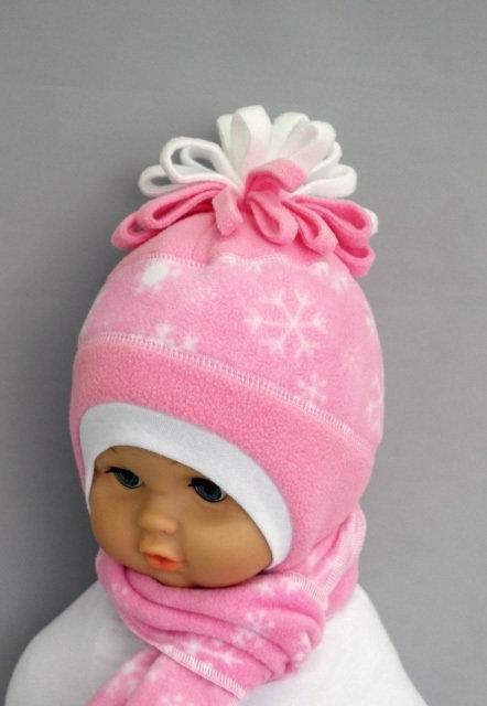 Комплект ВАРЯ, шапочка + шарф, розовый
