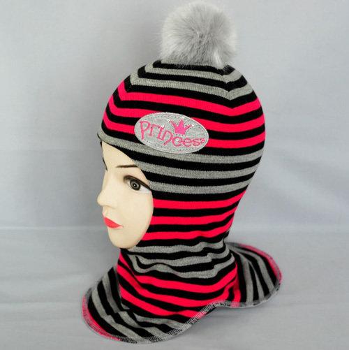 Шапочка-шлем ПРИНЦЕССА, малина