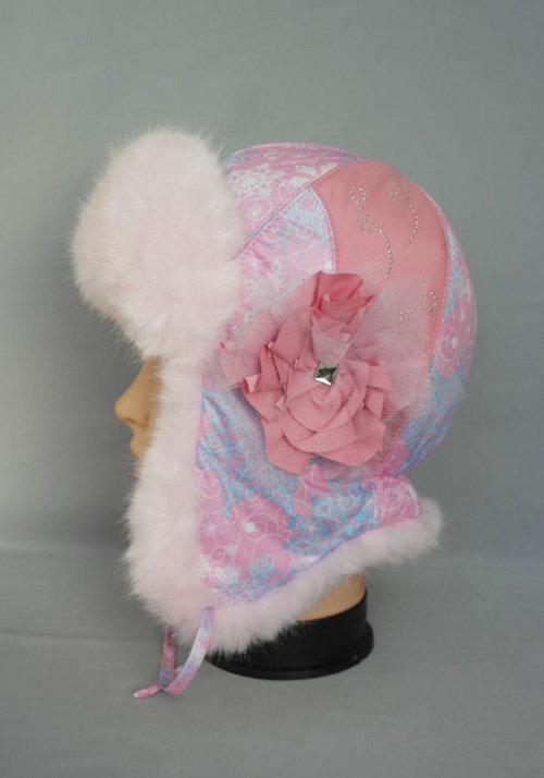Зимняя шапочка МАДЛЕН, розовый мех