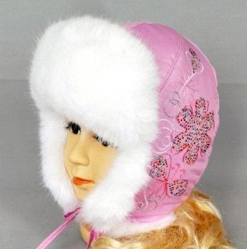 Шапка для девочки, зима, светло-розовый