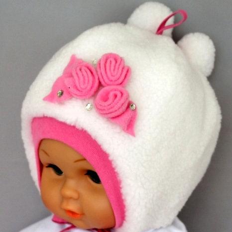 Зимняя шапочка РОЗОЧКА, белый