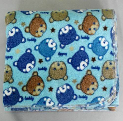 Детское флисовое одеяло-плед, голубой/мишки