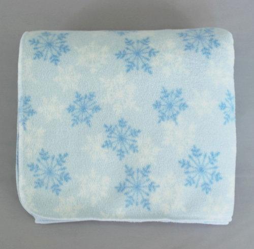 Детское флисовое двойное одеяло, снежинки/голубой