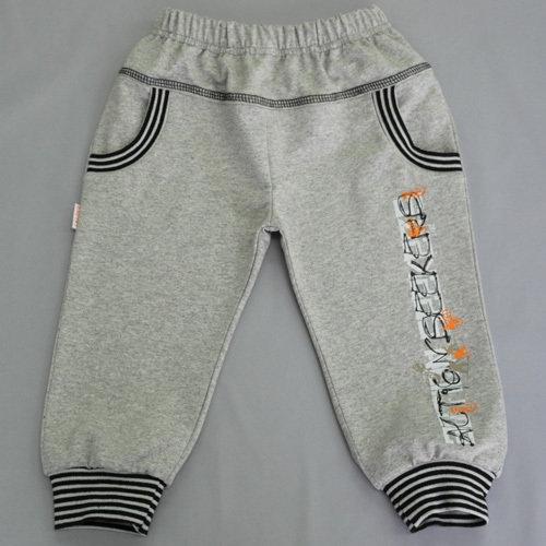 Штанишки на манжетах, с карманами, серый графити