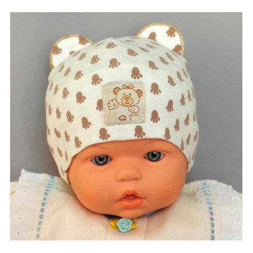 Летняя шапочка для новорождённого Медвежонок, св-коричневый