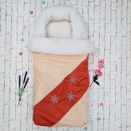 """Конверт-трансформер """"Снежинка"""", ткань дюспо, натуральный мех"""