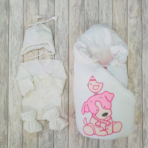Комплект на выписку LITTLE PUPPY (зима/деми), розовый