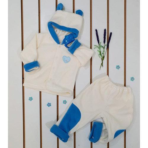 Комплект ясельный с аппликацией, флис-махра, молочно-голубой