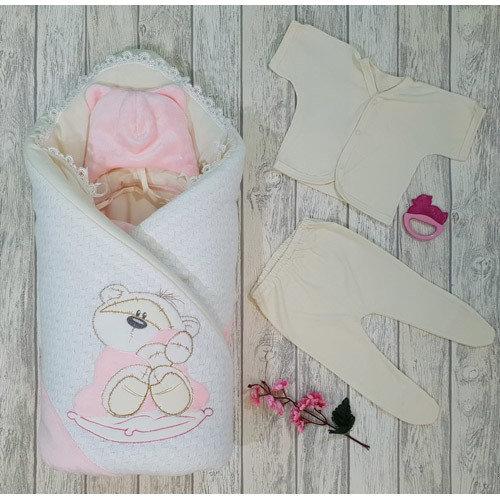 Комплект на выписку «Dreaming Bear» (демисезон, зима) розовый