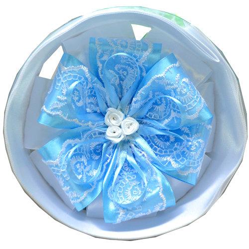 Бант нарядный на выписку (атлас) 15см, лента 2м, бело-голубой