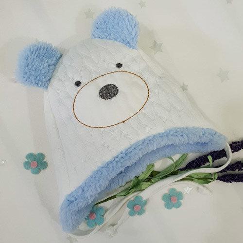 Шапочка утепленная с ушками, молочно-голубой