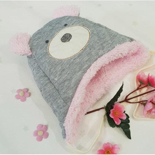 Шапочка утепленная с ушками, серо-розовый