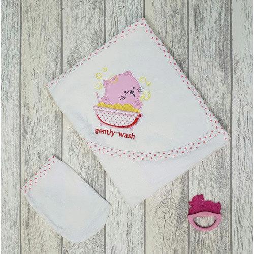 Комплект для купания «Котята» розовая окантовка