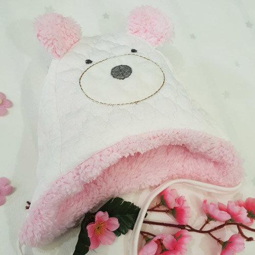Шапочка утепленная с ушками, молочно-розовый