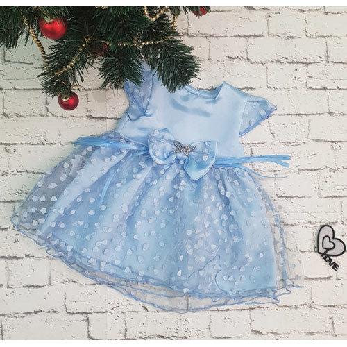 Платье МИЛАНА, атлас, голубой