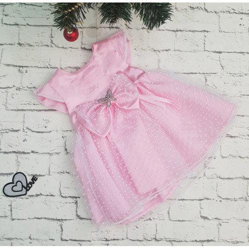 Платье МИЛАНА, атлас, розовый
