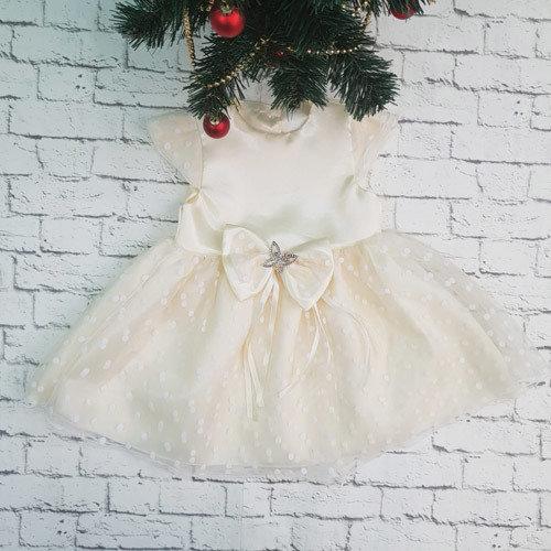 Платье МИЛАНА, атлас, молочный
