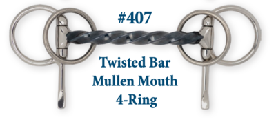 B407 Twisted Bar Mullen Mouth 4-Ring