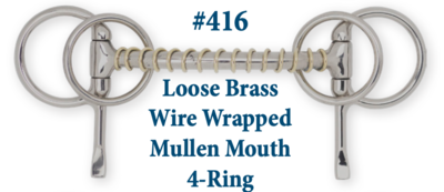 B416 Loose Brass Wire Wrapped Mullen 4-Ring
